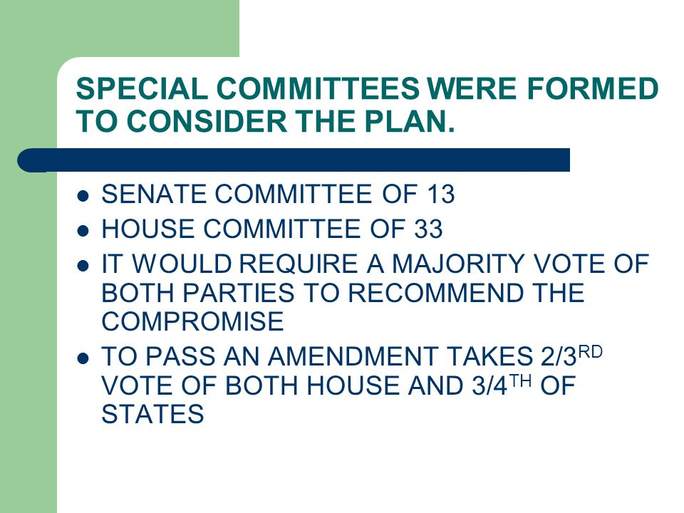 SPECIAL COMMITTEES WERE FORMED TO CONSIDER THE PLAN.
