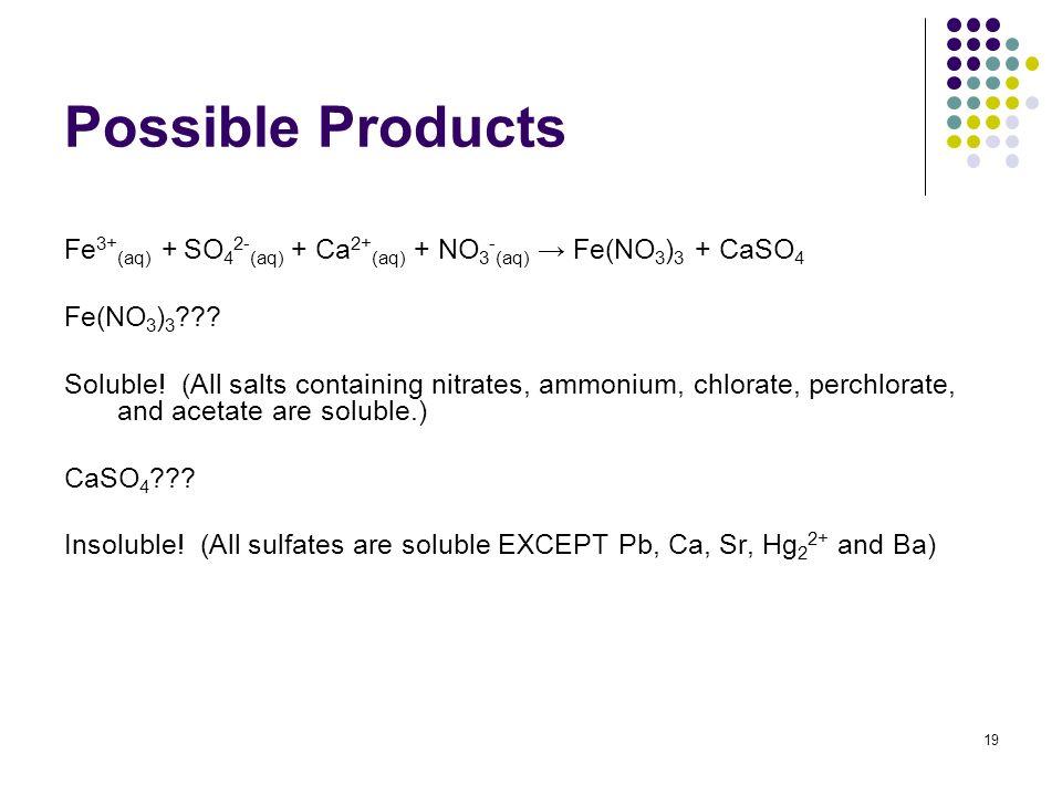 Possible Products Fe3+(aq) + SO42-(aq) + Ca2+(aq) + NO3-(aq) → Fe(NO3)3 + CaSO4. Fe(NO3)3