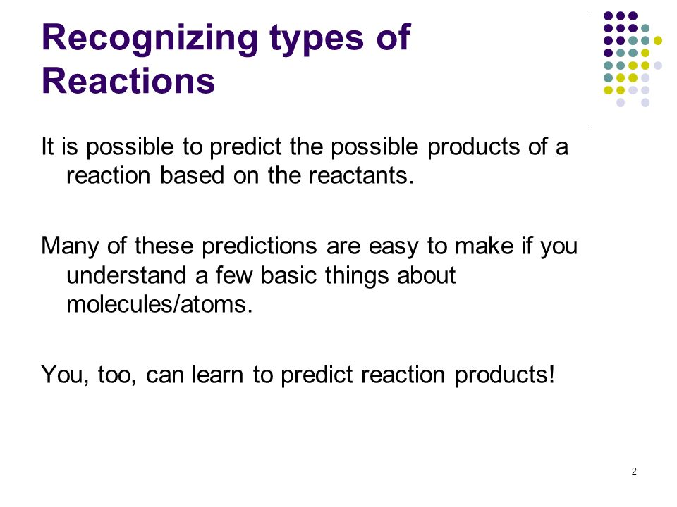 Recognizing types of Reactions