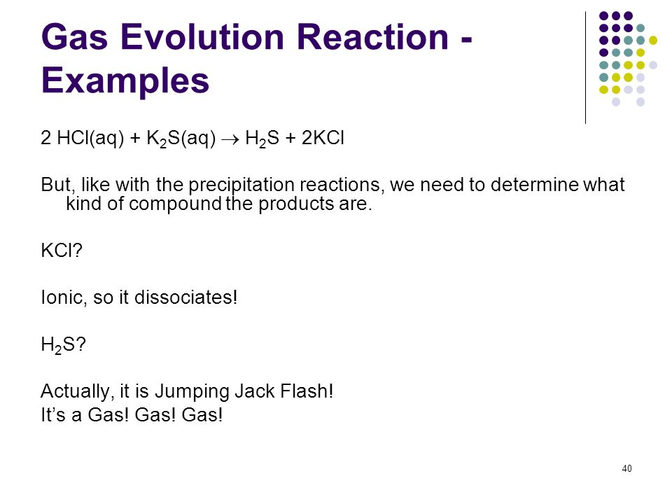 Gas Evolution Reaction - Examples