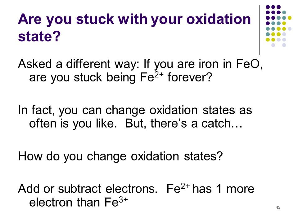 Are you stuck with your oxidation state