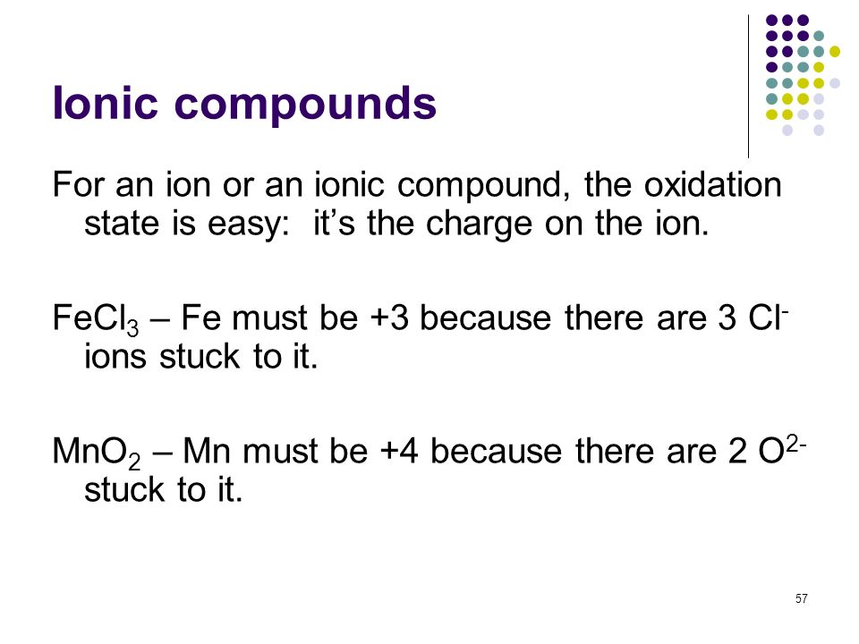 Ionic compounds For an ion or an ionic compound, the oxidation state is easy: it's the charge on the ion.