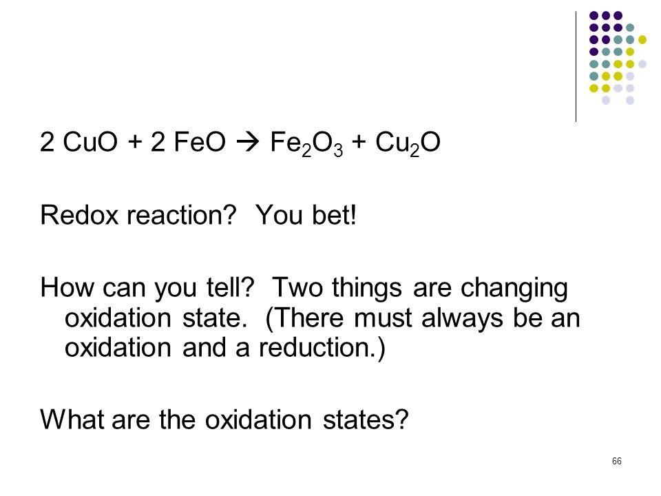 2 CuO + 2 FeO  Fe2O3 + Cu2O Redox reaction You bet!