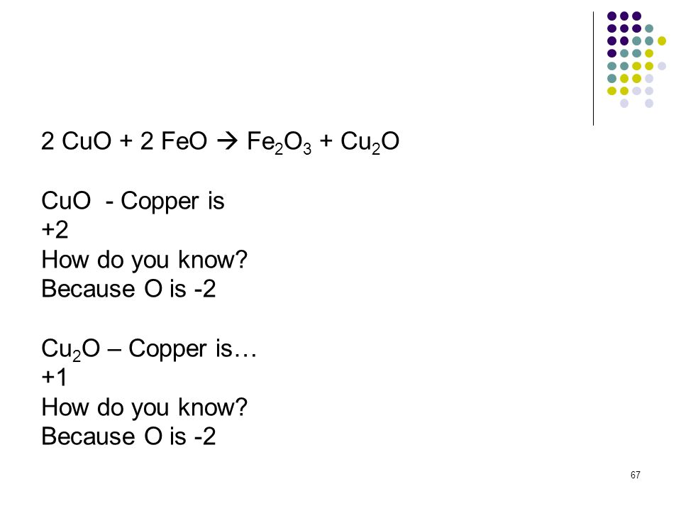 2 CuO + 2 FeO  Fe2O3 + Cu2O CuO - Copper is. +2. How do you know Because O is -2. Cu2O – Copper is…