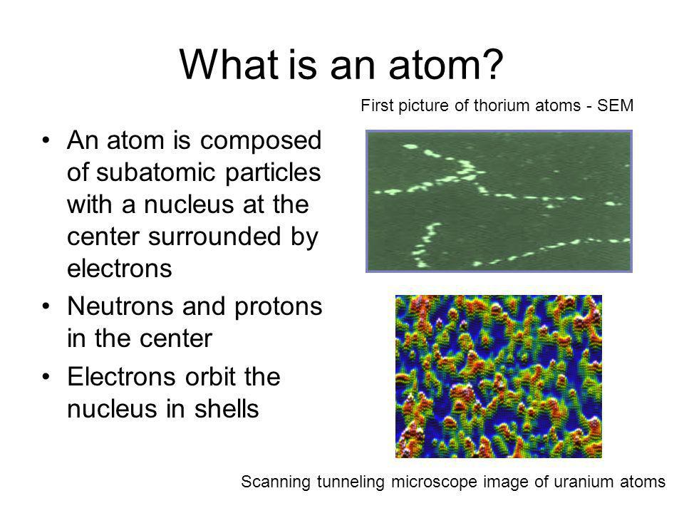 What is an atom First picture of thorium atoms - SEM.