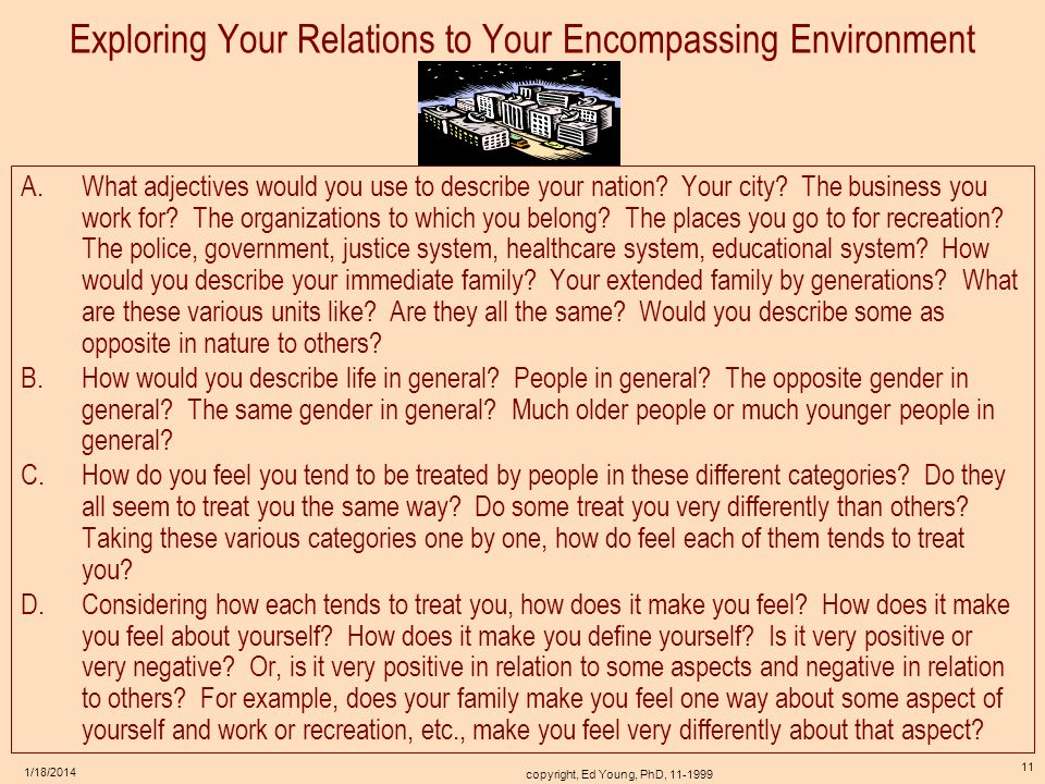 Exploring Your Relations to Your Encompassing Environment
