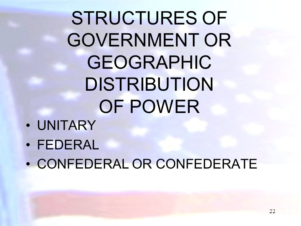 STRUCTURES OF GOVERNMENT OR GEOGRAPHIC DISTRIBUTION OF POWER