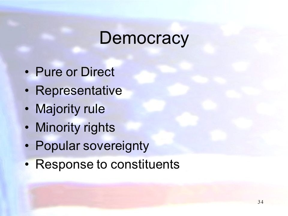 Democracy Pure or Direct Representative Majority rule Minority rights
