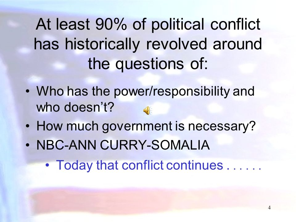 At least 90% of political conflict has historically revolved around the questions of: