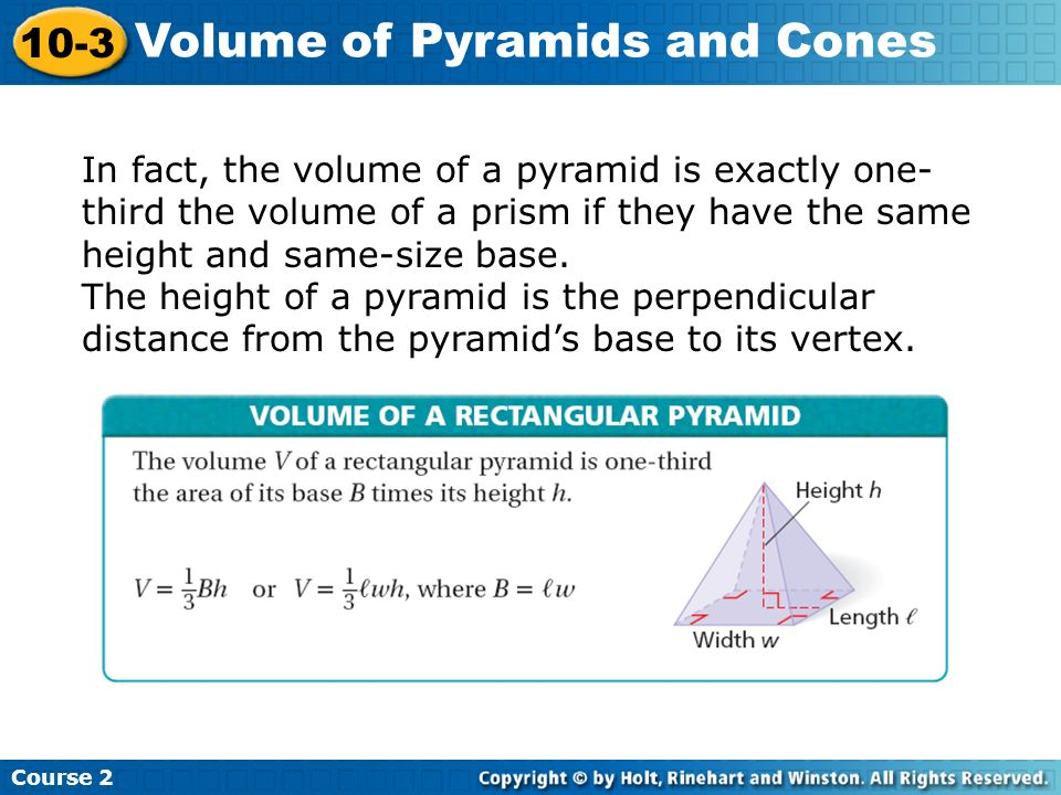 Volume of Pyramids and Cones