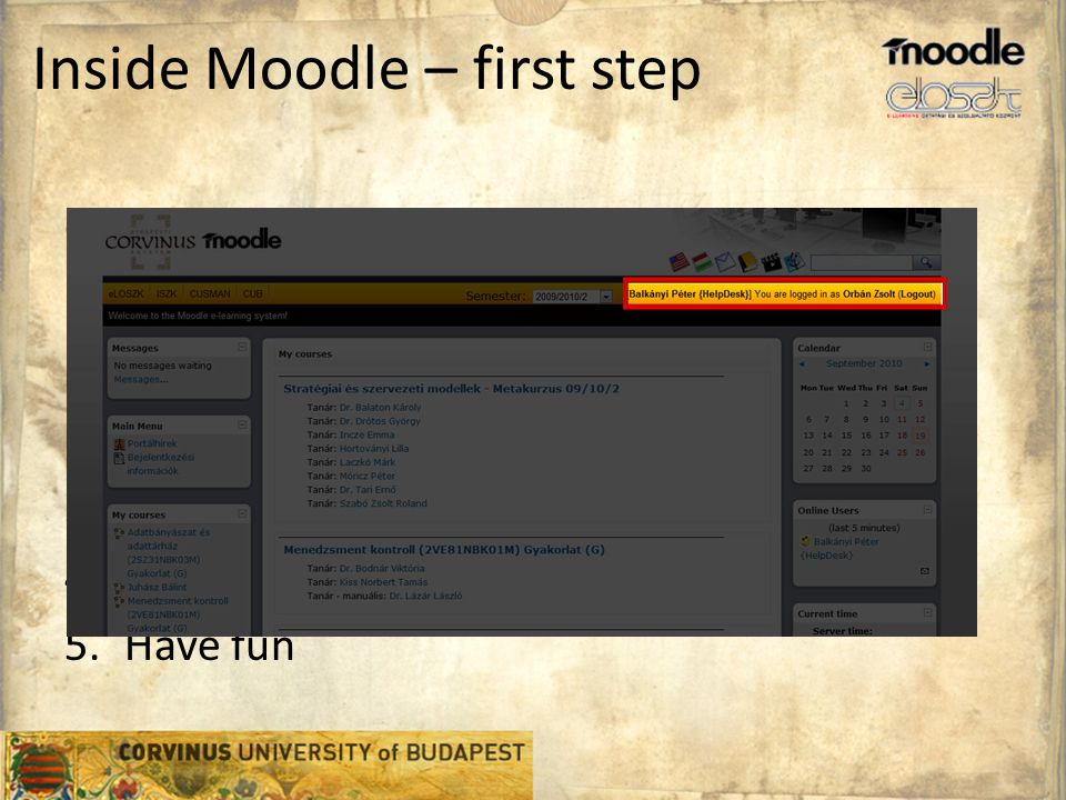 Inside Moodle – first step