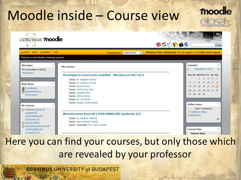 Moodle inside – Course view