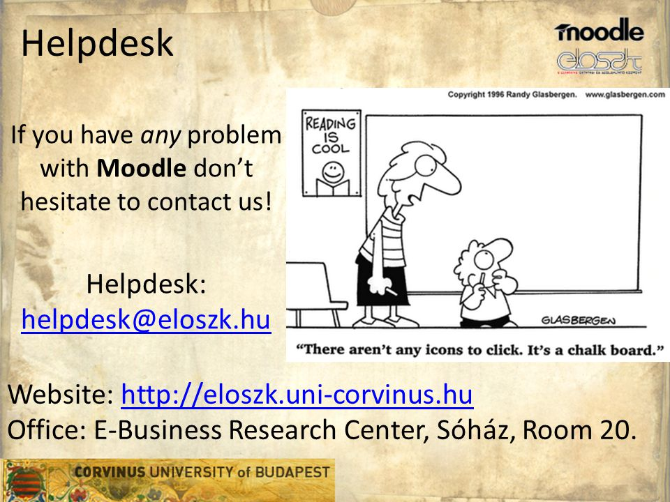 Helpdesk Helpdesk: helpdesk@eloszk.hu