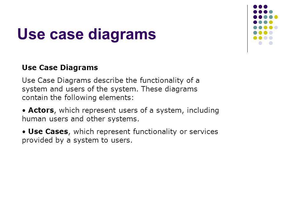 Use case diagrams Use Case Diagrams