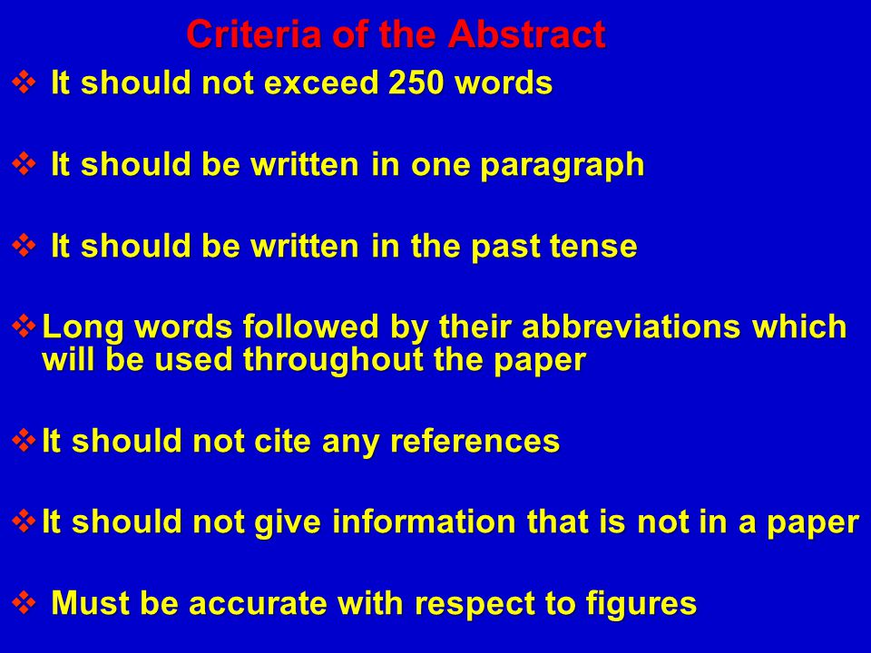 Criteria of the Abstract