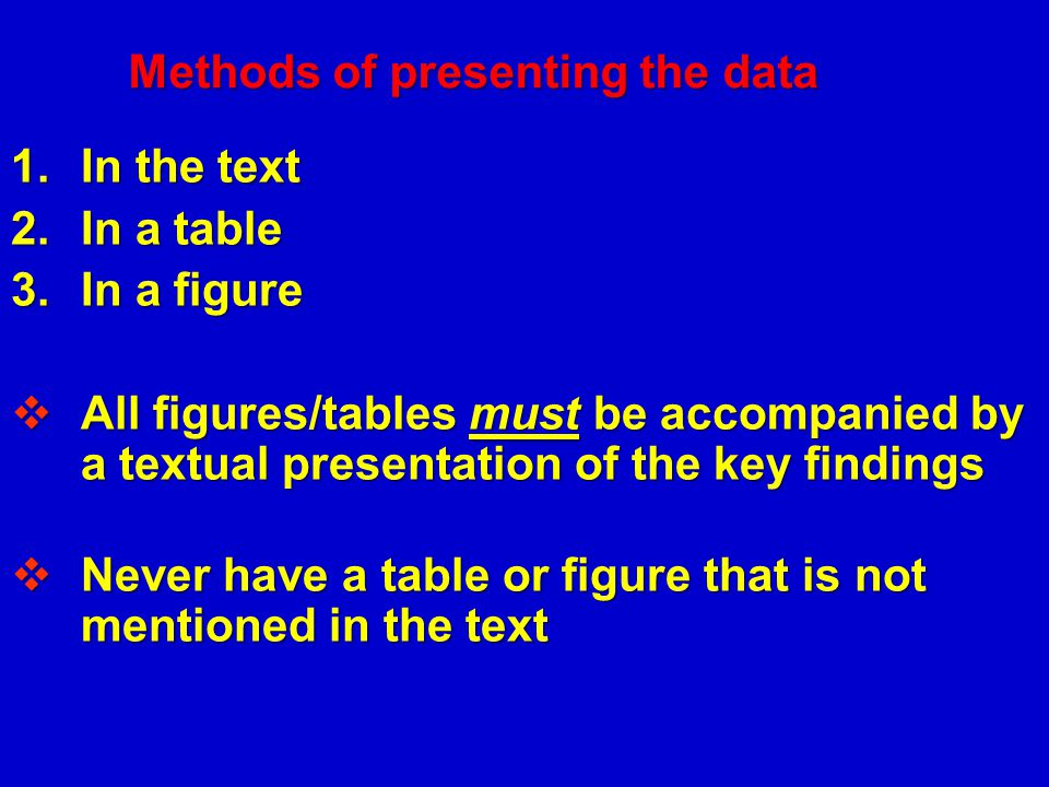 Methods of presenting the data
