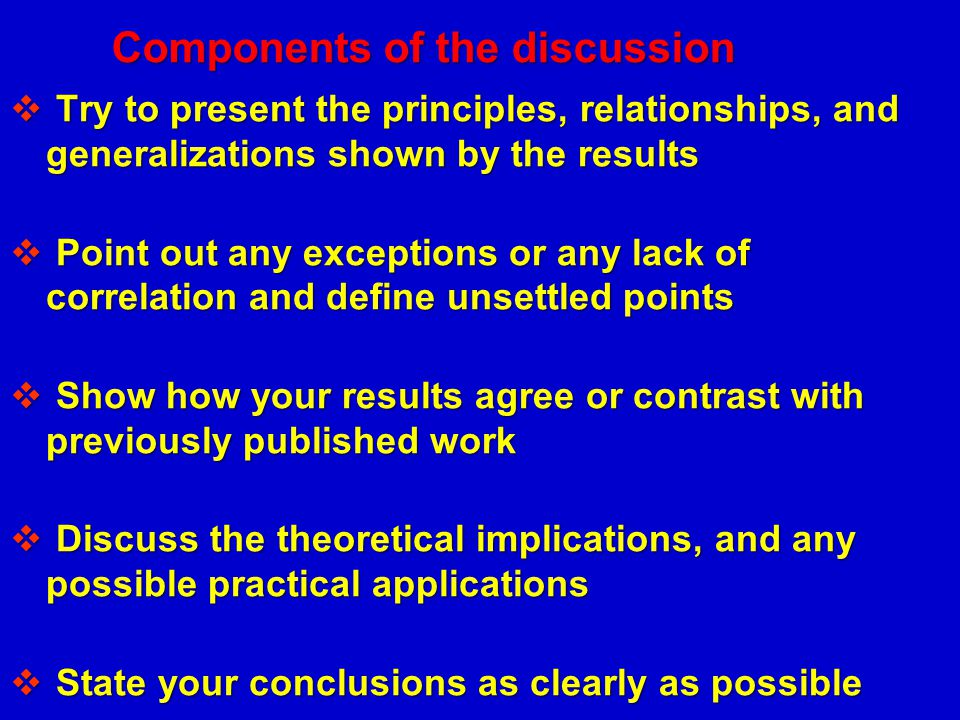 Components of the discussion