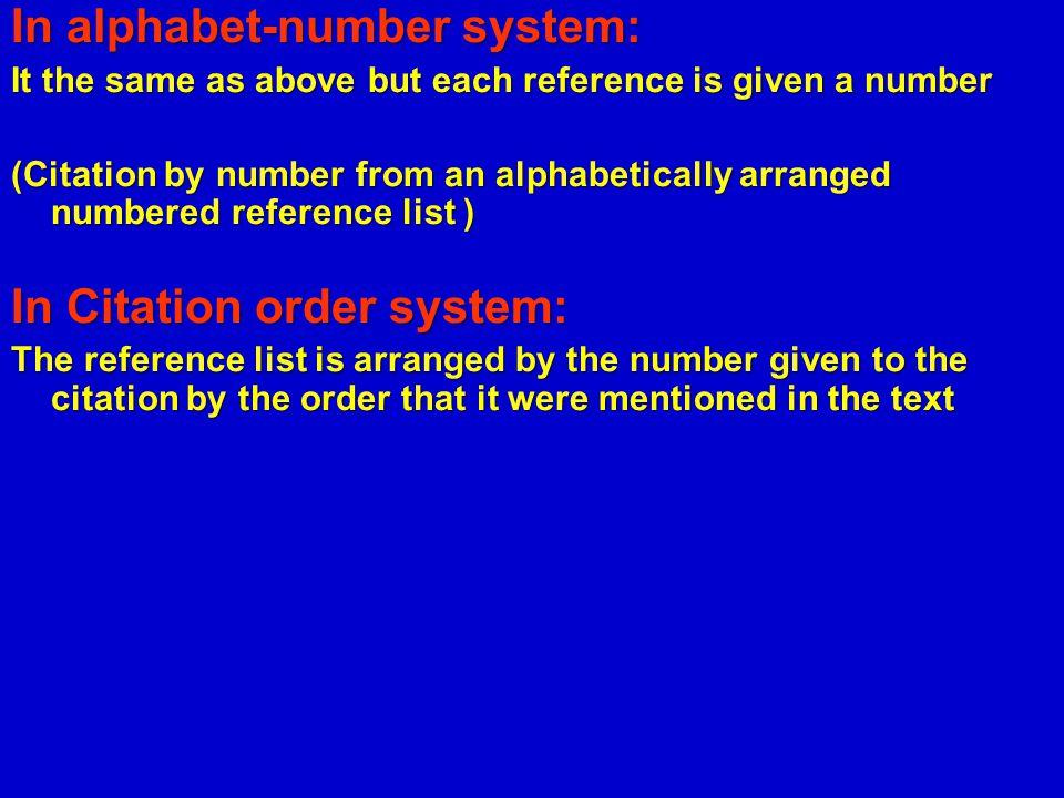 In alphabet-number system: