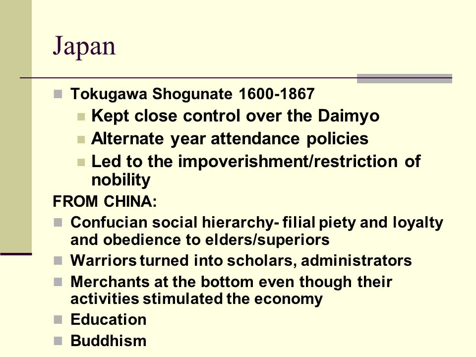 Japan Kept close control over the Daimyo