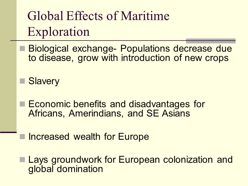 Global Effects of Maritime Exploration