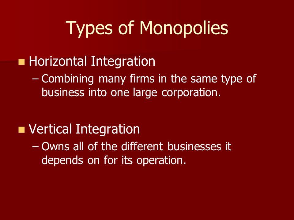 Types of Monopolies Horizontal Integration Vertical Integration