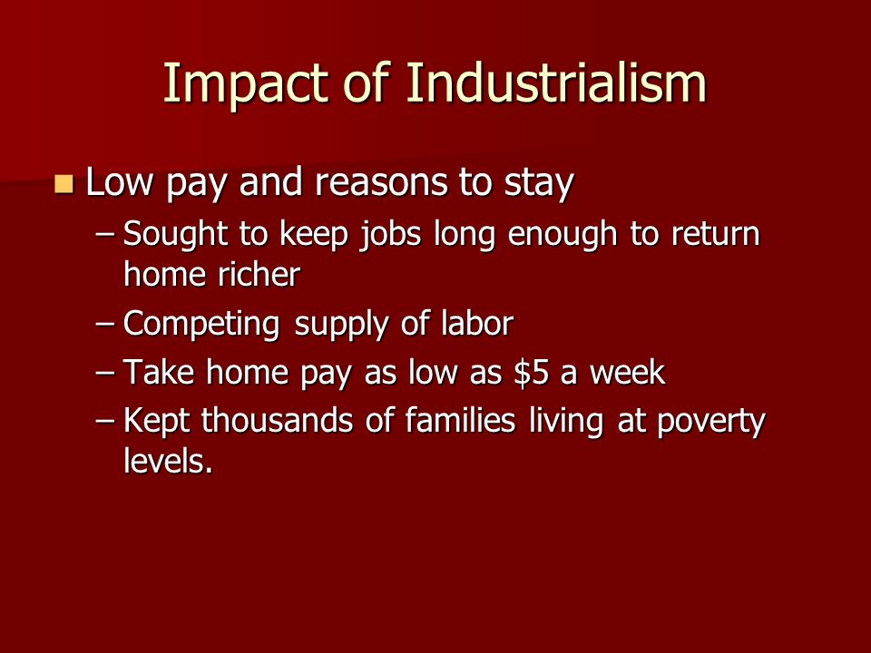 Impact of Industrialism