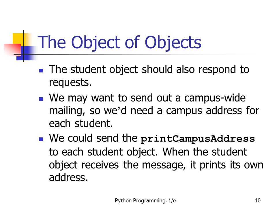 The Object of Objects The student object should also respond to requests.