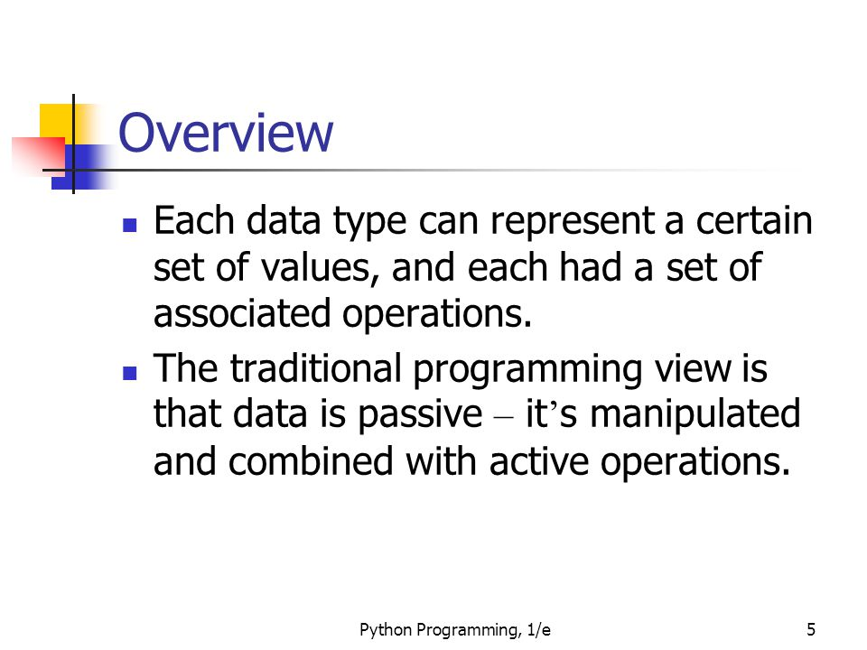 Overview Each data type can represent a certain set of values, and each had a set of associated operations.