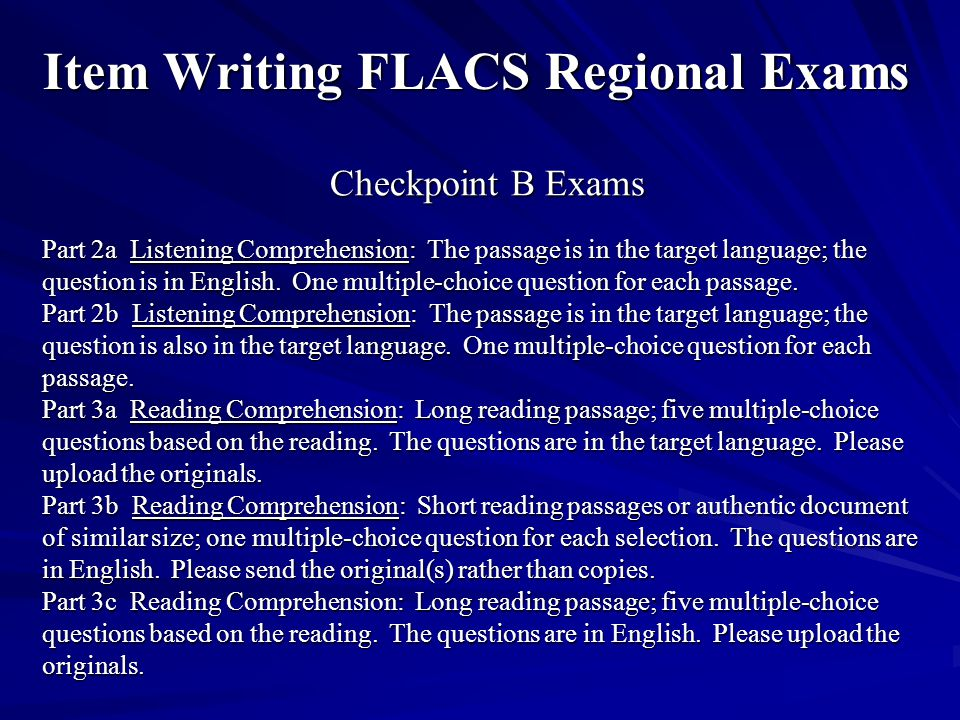 Item Writing FLACS Regional Exams
