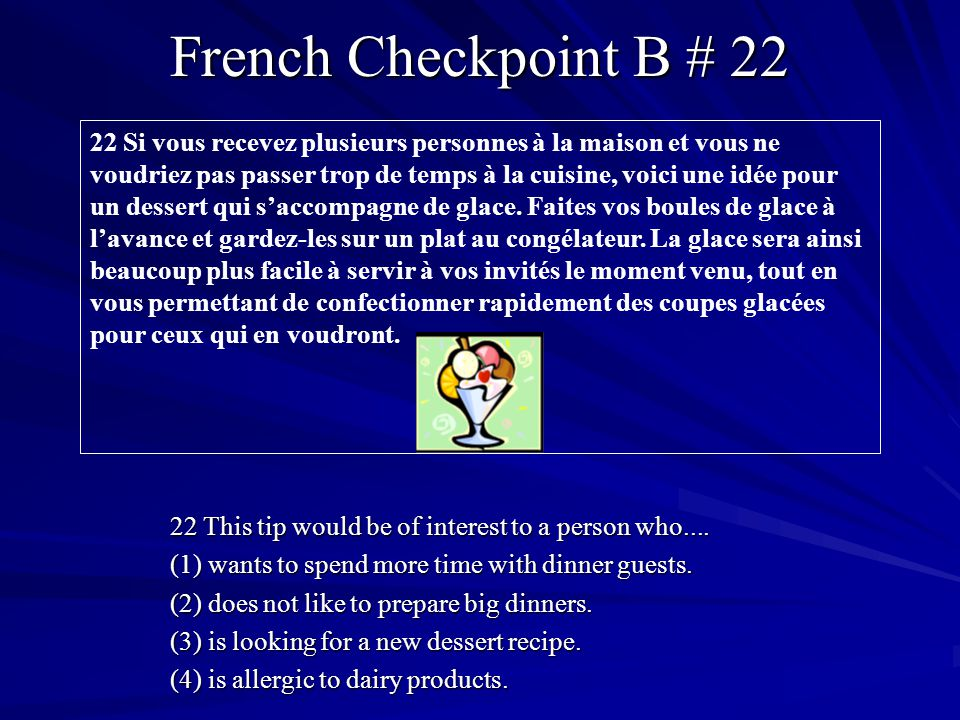 French Checkpoint B # 22