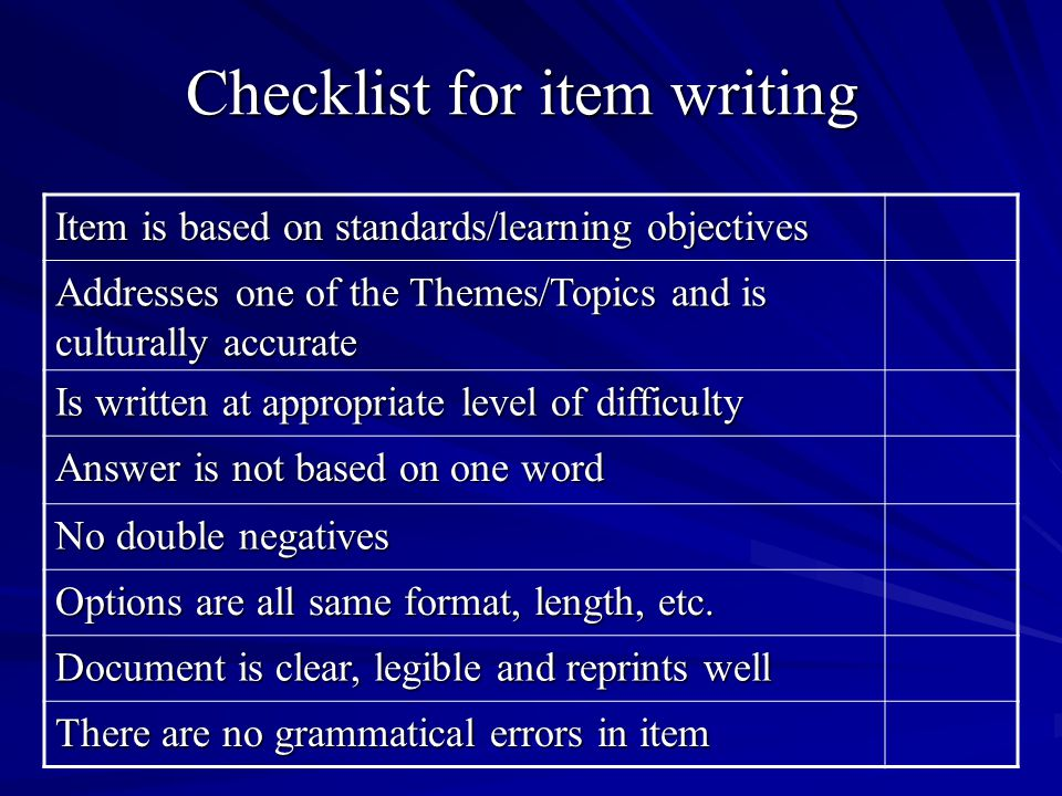 Checklist for item writing