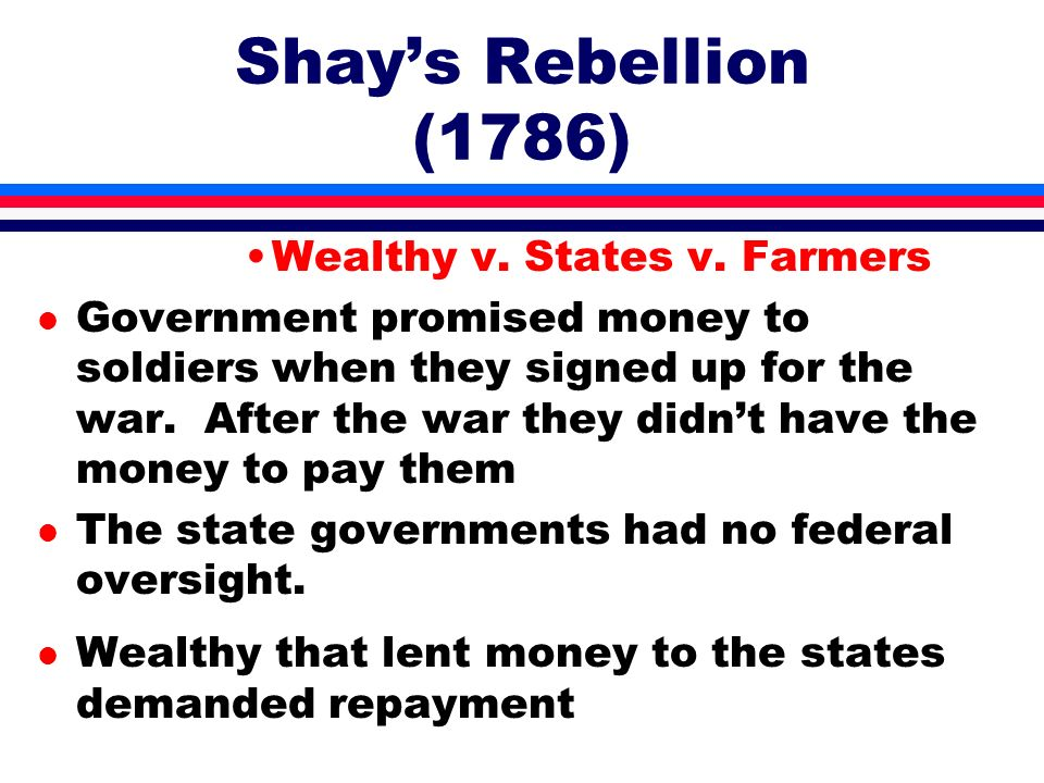 Shay's Rebellion (1786) Wealthy v. States v. Farmers