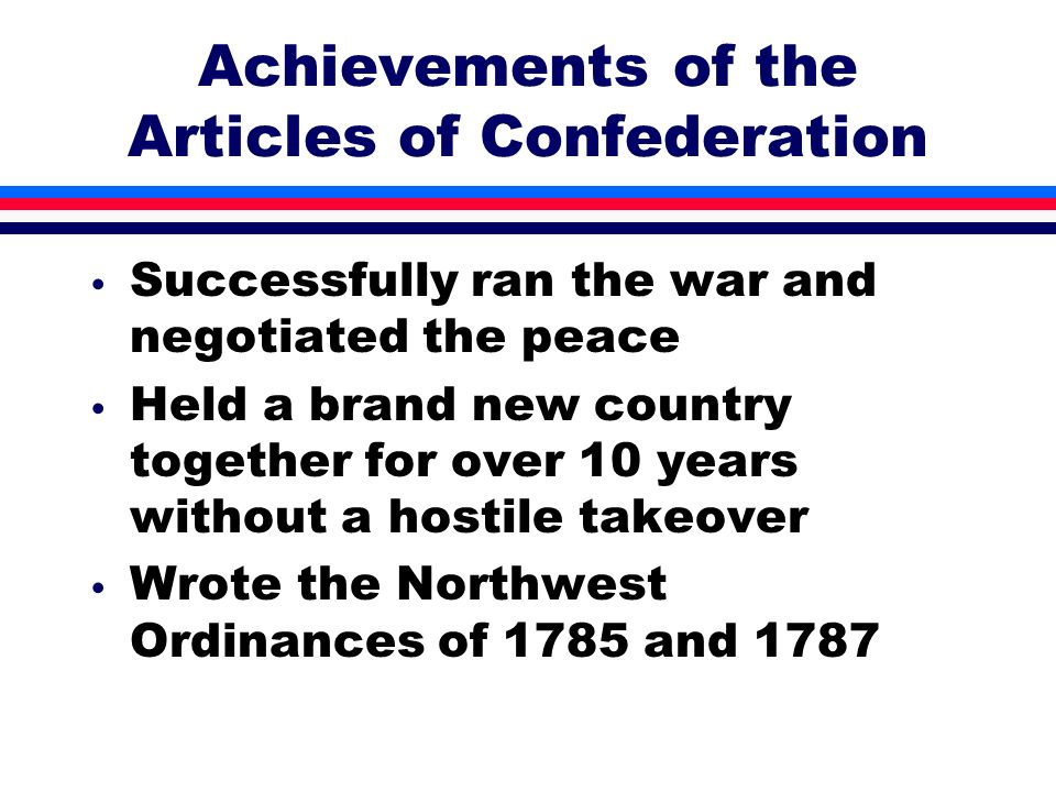 Achievements of the Articles of Confederation