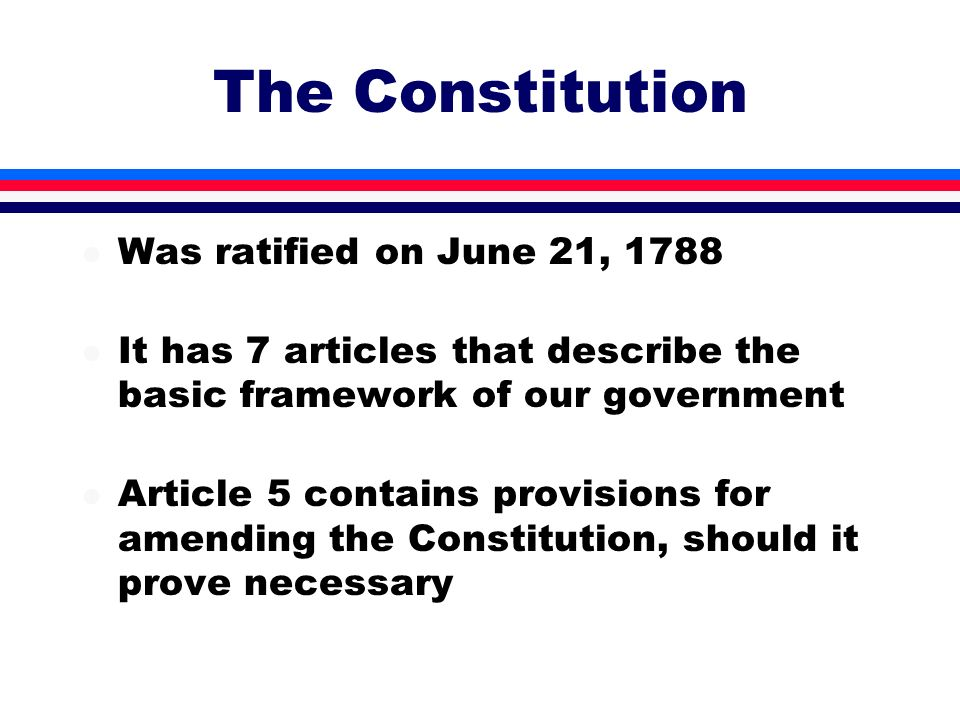The Constitution Was ratified on June 21, 1788