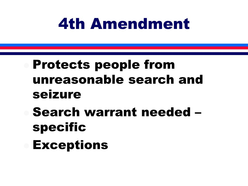 4th Amendment Protects people from unreasonable search and seizure