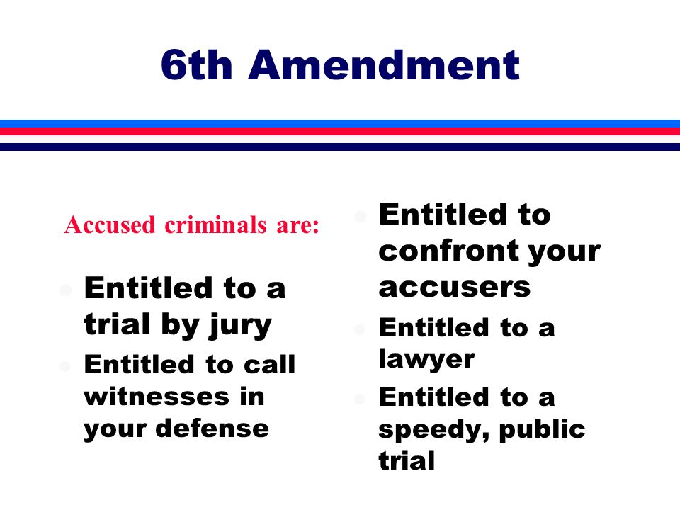6th Amendment Entitled to confront your accusers