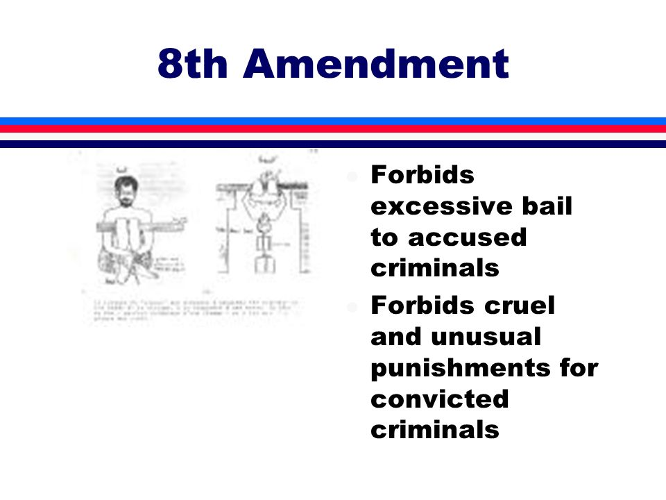 8th Amendment Forbids excessive bail to accused criminals