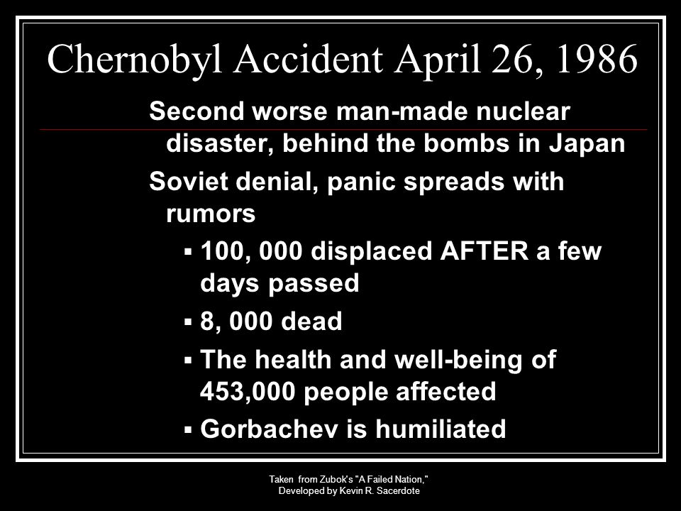 Chernobyl Accident April 26, 1986