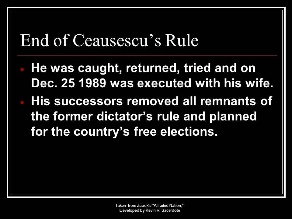 End of Ceausescu's Rule