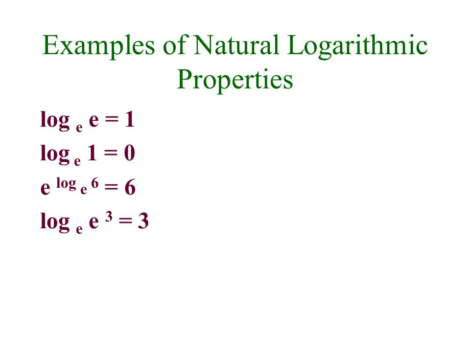 Examples of Natural Logarithmic Properties