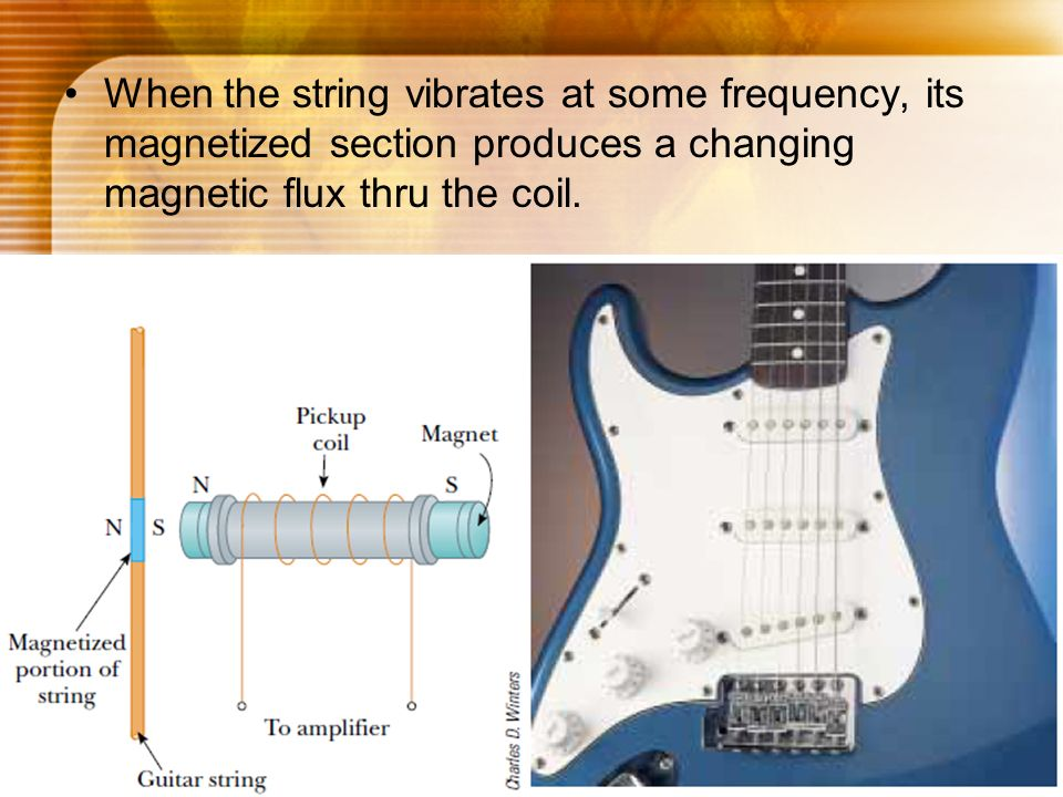 When the string vibrates at some frequency, its magnetized section produces a changing magnetic flux thru the coil.
