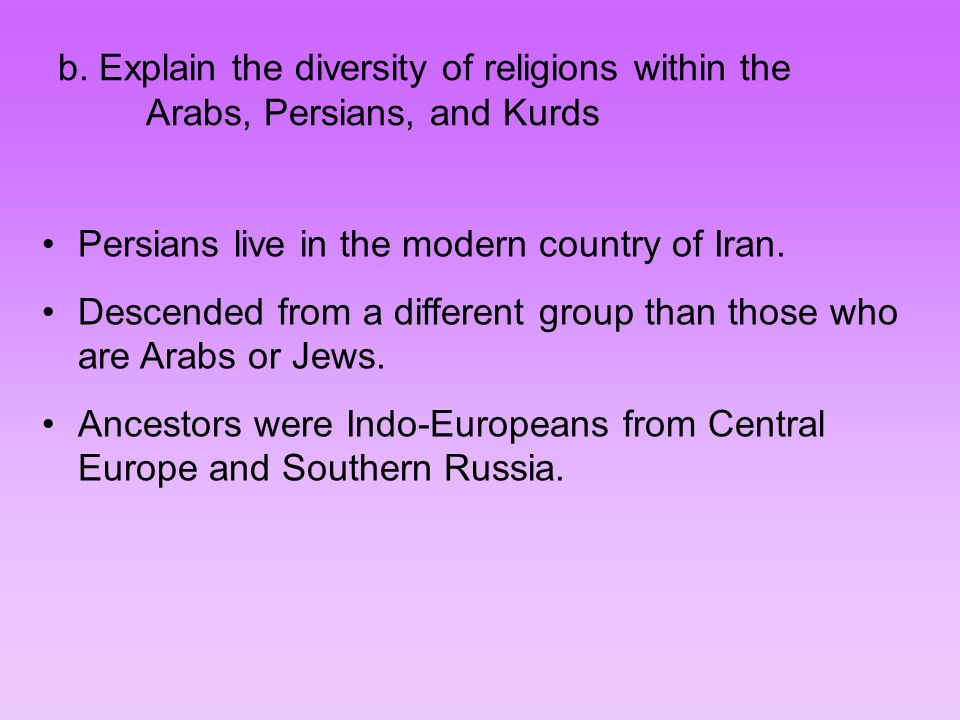 b. Explain the diversity of religions within the Arabs, Persians, and Kurds
