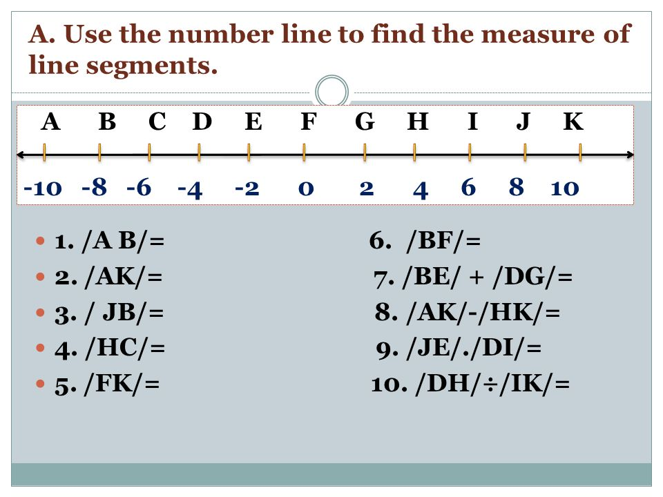 A. Use the number line to find the measure of line segments.