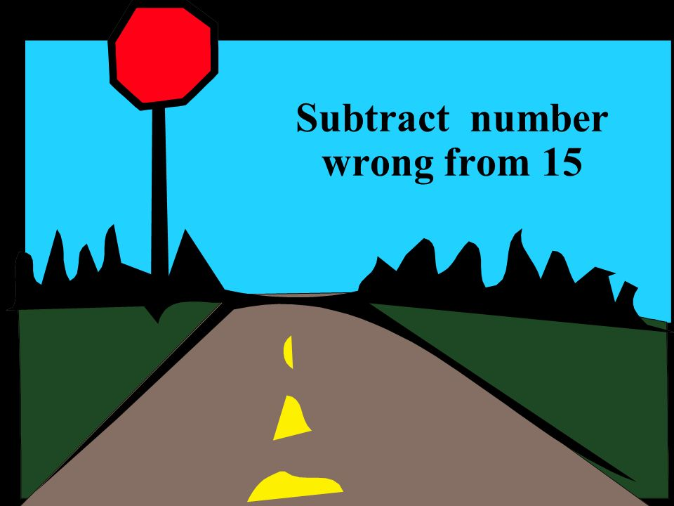 Subtract number wrong from 15