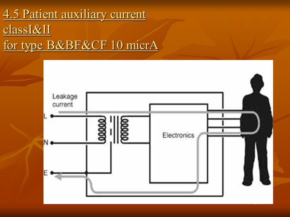 4.5 Patient auxiliary current classI&II for type B&BF&CF 10 micrA