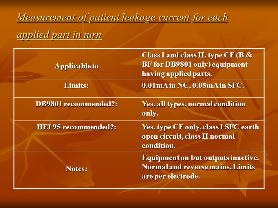 Measurement of patient leakage current for each applied part in turn