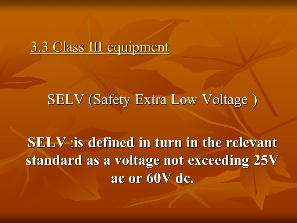 SELV (Safety Extra Low Voltage )