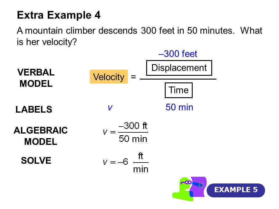 Extra Example 4 A mountain climber descends 300 feet in 50 minutes. What is her velocity –300 feet.