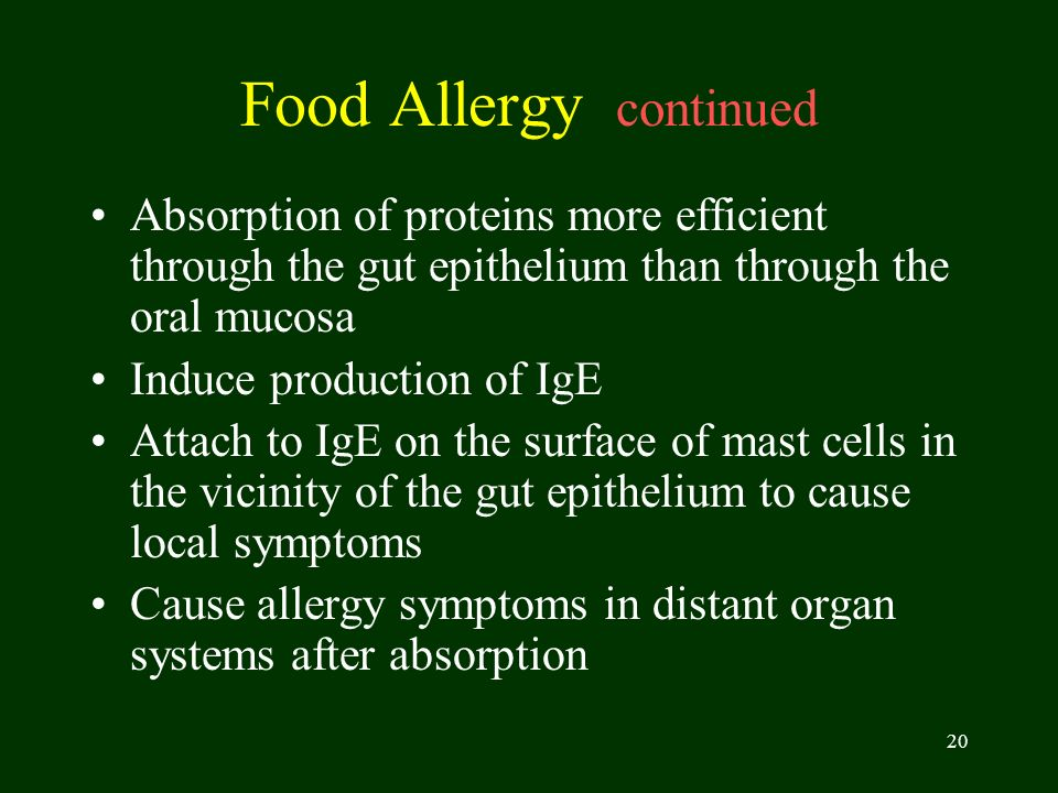 Food Allergy continued
