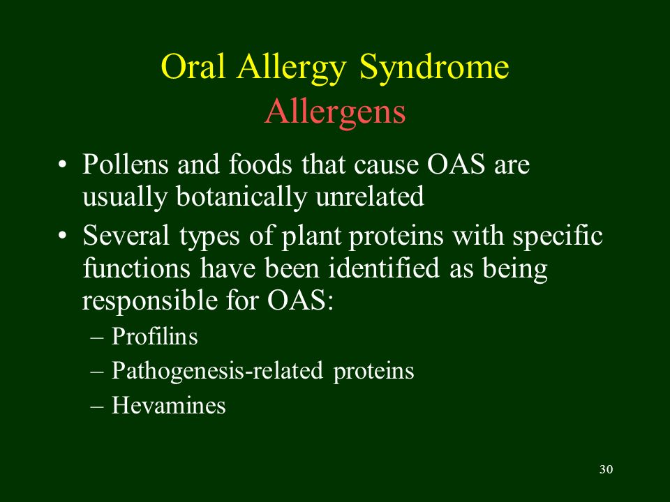 Oral Allergy Syndrome Allergens